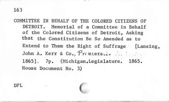 Michigan Black History Bibliography Sample Card